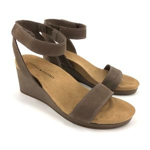 Lucky Brand Kanoa ankle strap suede wedges 8